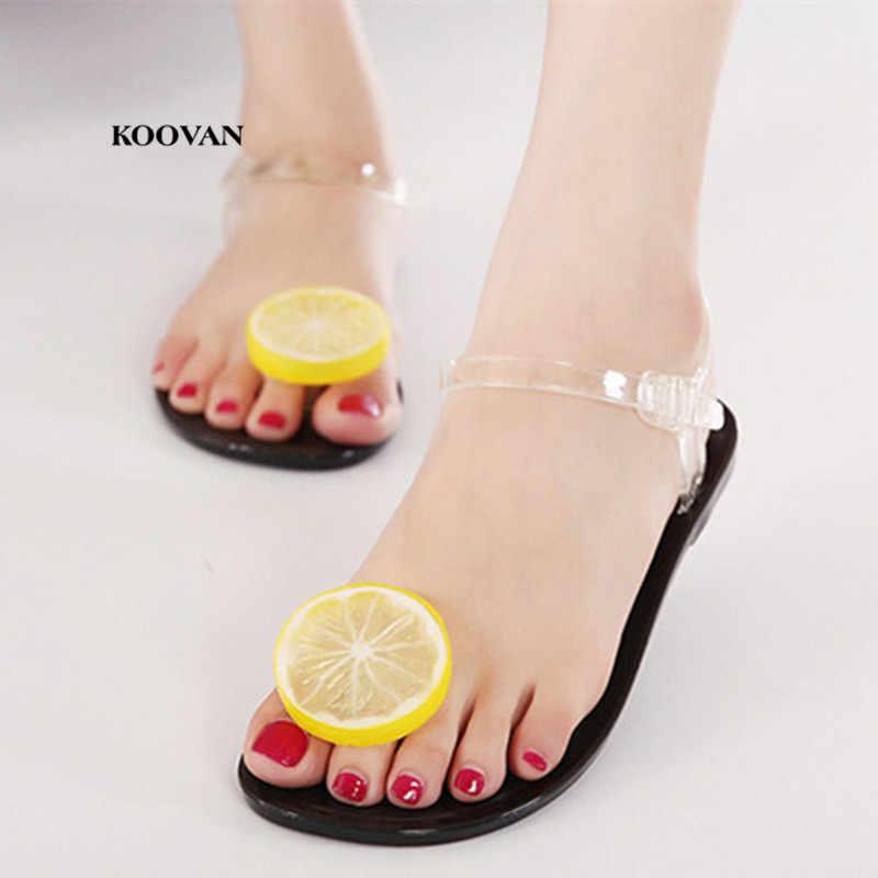 Koovan Women Sandals 2018 Summer New Fashion Women Shoes Transparent Jelly  Sandals Sweet Flowers Clip Toe 646df9fe21e1