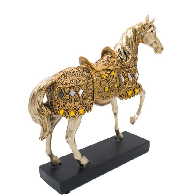 ERMAKOVA Modern Creative Resin Golden Walking Horse Figurine Statue Animal Sculpture Home Office Desktop Decoration Gift 2