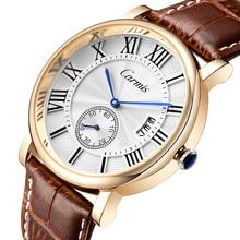 Часы Мужчины Роскошный Оригинальный Бренд Carmis Спортивные Часы Моды для Мужчин наручные часы Хронограф водонепроницаемый Мужской кожаный Кварцевые часы