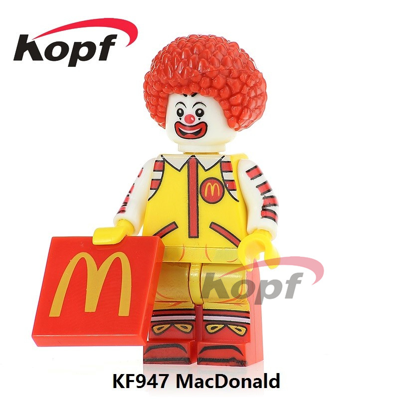 Single Sale KF947 Mc. Donald Ronald McDonald Mr. Kentucky Donald John Trump Super Heroes Model Building Blocks Toys for children kf949 super heroes star wars mr kentucky macdonald luke skywalker wolverine indiana jones collection building blocks gift toys