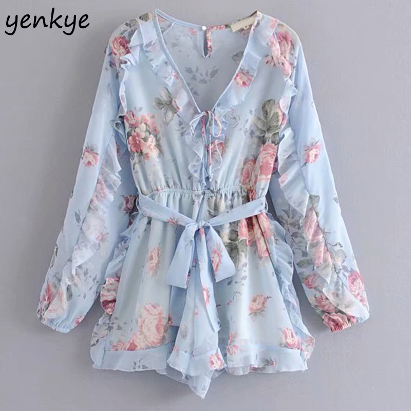 2019 Floral Print Chic Ruffle   Jumpsuit   Elegant Women V Neck Long Sleeve With Belt Holiday Summer Beach Boho   Jumpsuit   Short