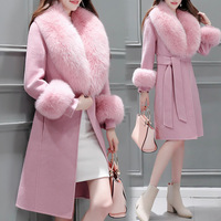 Fashion Slim Long Wool Coat Solid Pockets Wool Blend Coat and Jacket Sashes Removable Fur Collar Pink Women Coats Autumn Winter