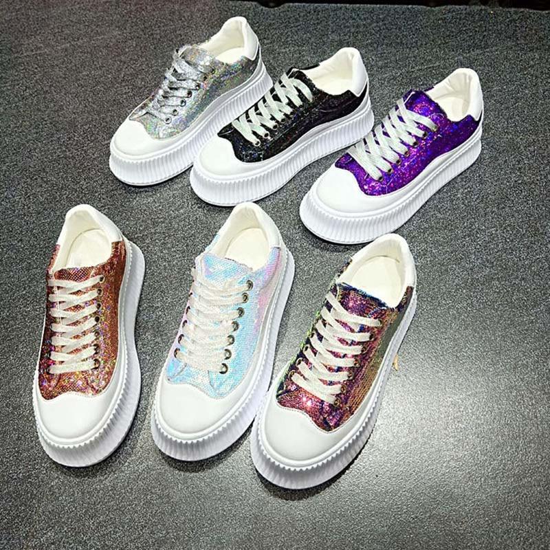 Non Noires Décontracté Black Mode Chaussures Plat Sneakers Printemps purple pink Femme Automne Femmes 2019 white Bling Sport candycolor forme Blanches Plate slip De Pour Dames silvery Yyb7f6gv