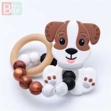 Mordidas 1 pc filhote de cachorro silicone dentição do bebê cão pulseira de grau alimentício de silicone bens do bebê carrinho chocalho mordedores para dentes mastiga