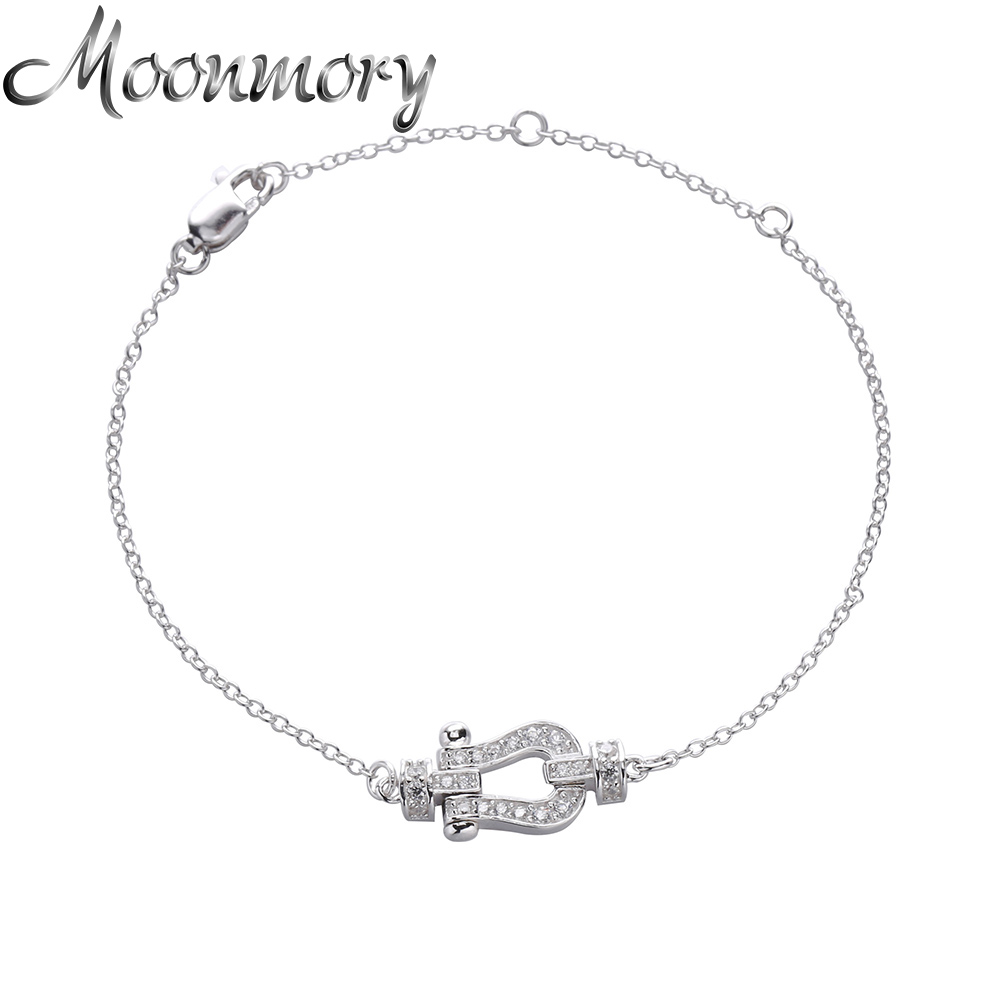Moonmory France Jewelry 925 Sterling Silver Buckle Shaped Bracelet With White Zircon Bracelet For Women Man Wedding Jewelry france popular jewelry 925 sterling silver handcuffs bracelet for men women with rope zircon silver pendant bracelet menottes