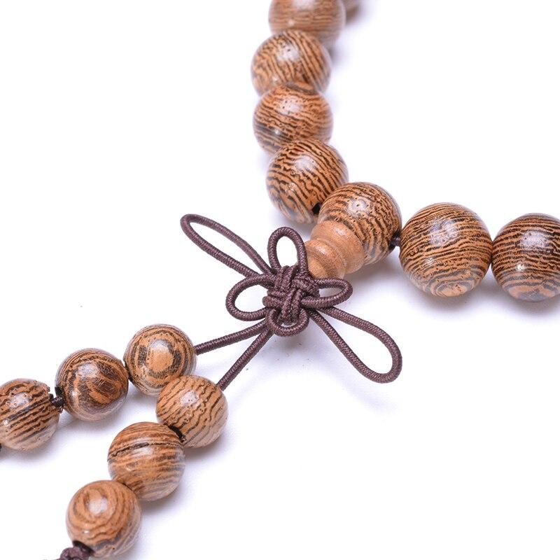 Prayer Beads Bracelet 108 Tibetan Buddhist Rosary Charm Mala Meditation Necklace Yoga lucky Wenge Wooden Bracelet For Women Men 5