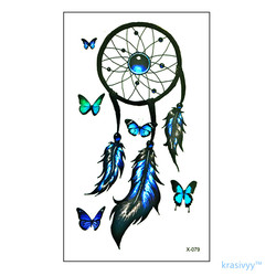 Free shipping waterproof temporary tattoo sticker 10 5 6 cm blue feather butterfly tattoo flash tattoos.jpg 250x250