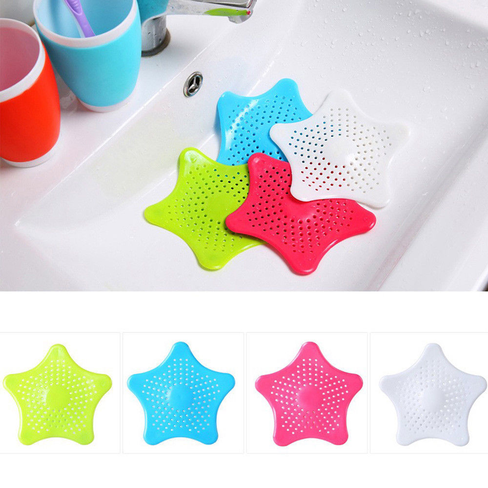2 pcs Star Shaped Silicone Cover Filter Waste Hair Catcher Sink Drain Strainer