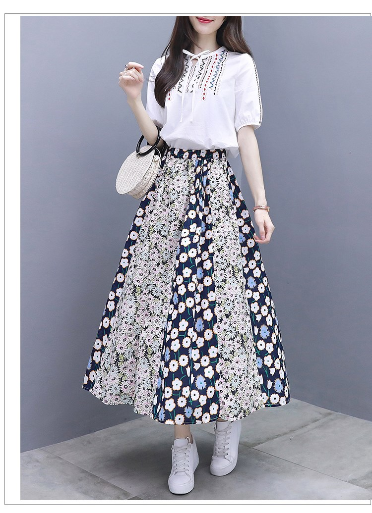 2019 Summer Two Piece Sets Women Embroidery Short Sleeve Tops And Printed Pleated A-line Skirt Suits Casual Elegant Fashion Sets 31
