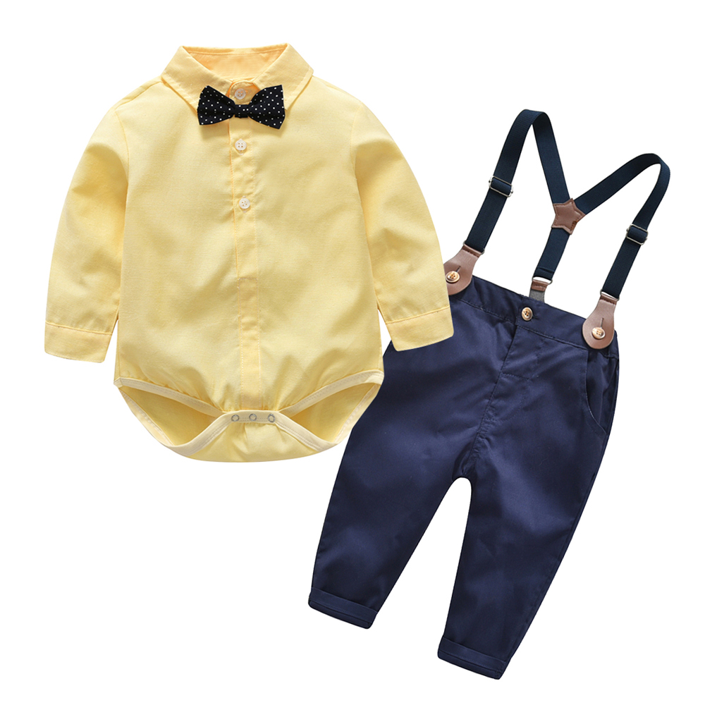 4fc527b4d Top and Top Autumn Kids Boys Clothes Set Baby Boy Gentleman Outfit Long  Sleeve Romper Shirt