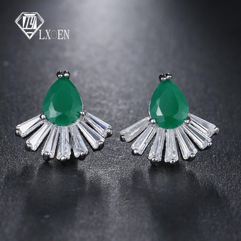 LXOEN 2018 New Vintage Rock Punk Green Stud Earrings With AAA Cubic Zircon Pear Studs Ear for Women Earrings Jewelry Gift
