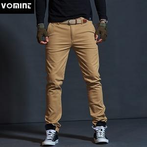 Image 1 - Vomint Mens warm Velvet pants for Fashion Zipper Thick Cargo Pants Slim Regualr Straight  Fit Cotton Multi Color Camouflage blue
