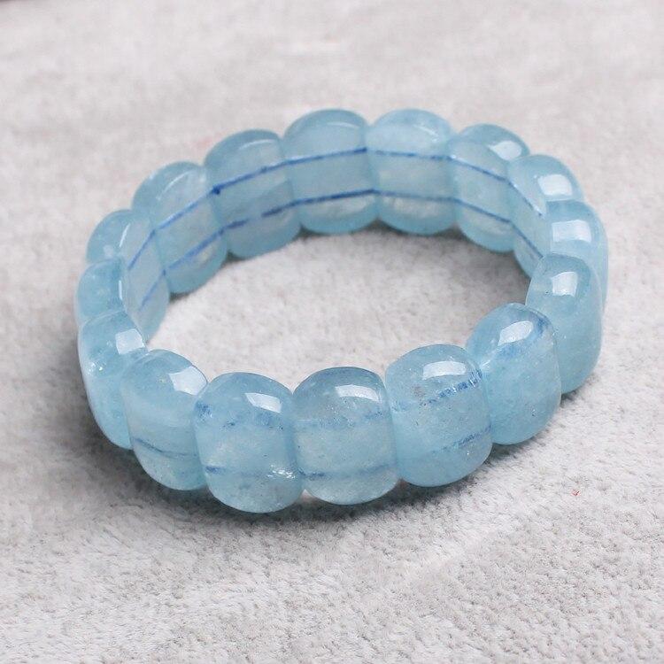 Bleu aigue-marine oblone 12*18 MM bracelet 7.5 pouces en gros perles nature artisanat FPPJ