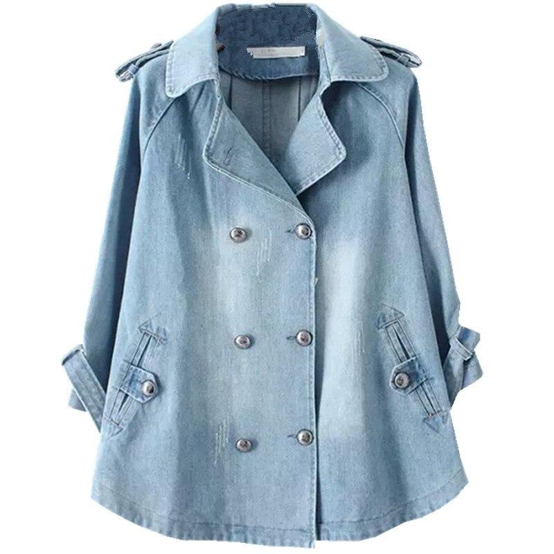 2020 Large Plus Size Women Spring Coat Loose Denim Trench Coat Female Casual Autumn Windbreaker Elegant Jeans Coats Tops N831