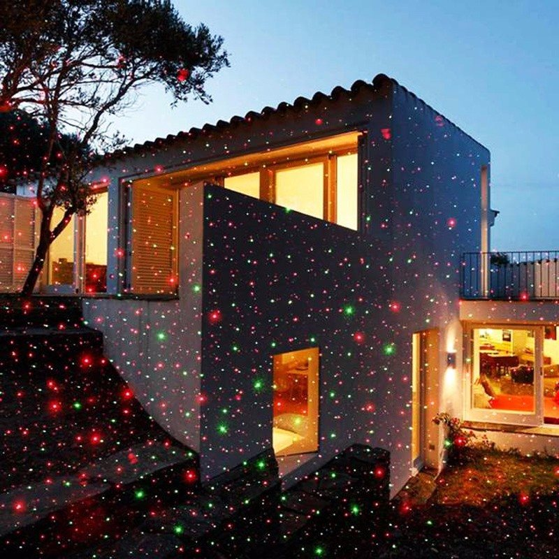 Waterproof IP67 RGB Laser Waterproof Landscape Garden Projector LED Moving Christmas Stage Light Lamp US Plug AC100-240V