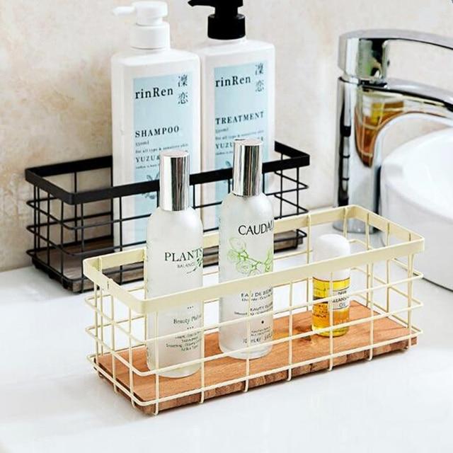 Multifunctional Iron storage rack spice condiment holder basket desktop organizer kitchen Bathroom storage holder rack shelf & Multifunctional Iron storage rack spice condiment holder basket ...