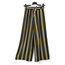 2019 New HOT Selling Casual Nine Points Wide Leg Pants Female Korean Version of The Wild Striped High Waist Belt