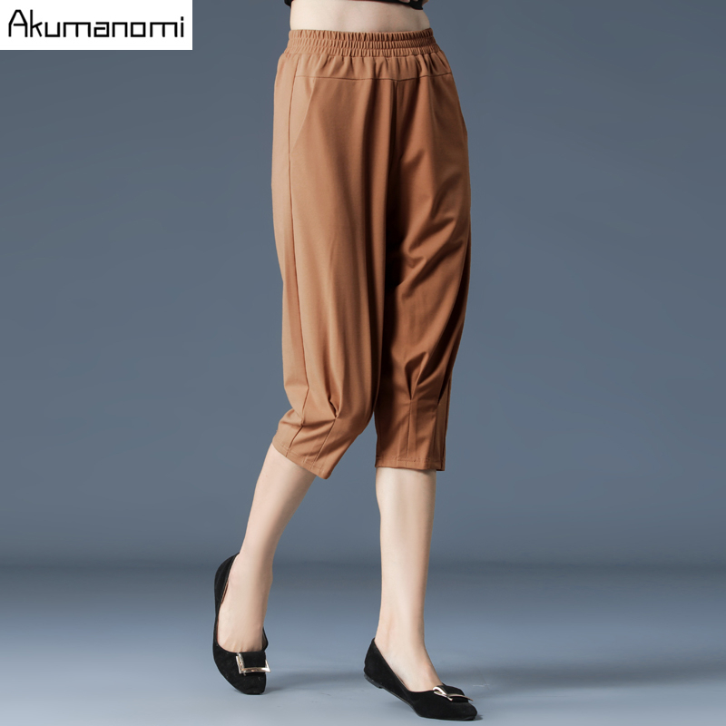 Plus Size Female Elastic   Pants     Capris   4XL-M Good Quality High Waist Women Crops Super Stretch Summer Calf-length Pencil   Pants