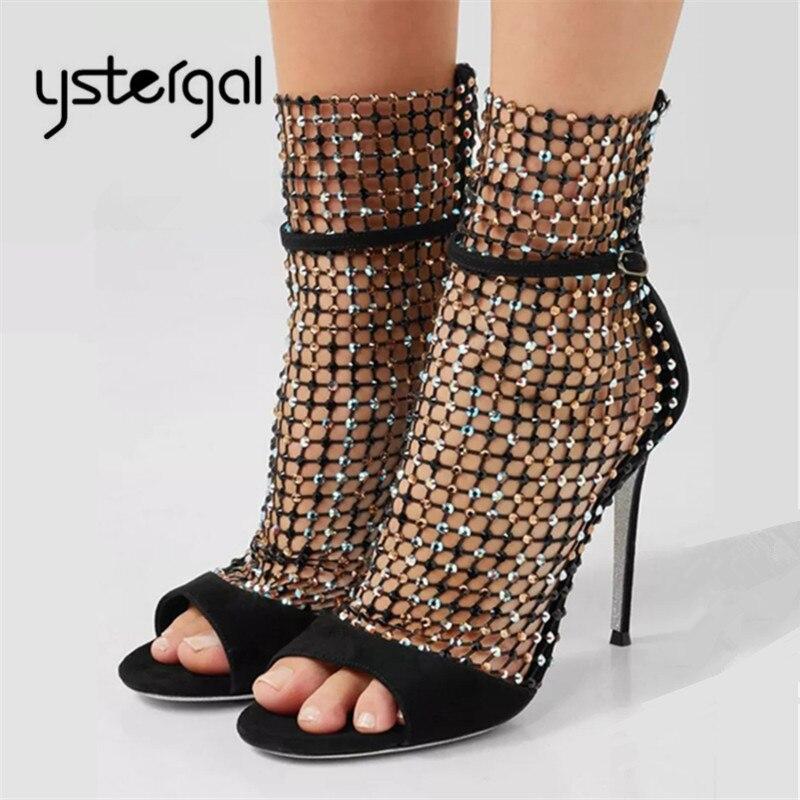 Ystergal الأزياء اللمحة تو المرأة مضخات 10 سنتيمتر عالية الكعب حجر الراين السيدات الزفاف اللباس أحذية امرأة الخنجر الجوف خارج حذاء بوت بطول الكاحل-في أحذية نسائية من أحذية على  مجموعة 1