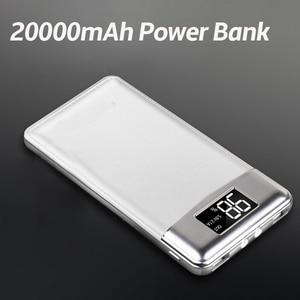 20000 мАч Внешний аккумулятор портативный внешний аккумулятор повербанк 2 USB LCD зарядное устройство для мобильного телефона для Xiaomi iphone 7/8 X ...