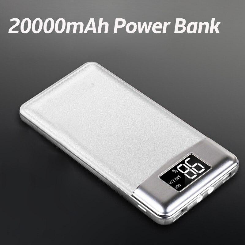 20000 mAh banco de potencia de batería externa portátil PoverBank 2 USB LCD Powerbank cargador para teléfono móvil para Xiaomi iphone 7/8 X samsung