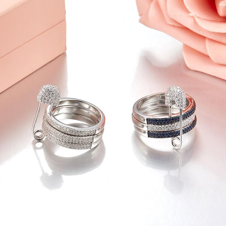Monaco bijoux trois bandes AAA cubique zircone broches anneaux S 925 en argent sterling poitrine charmes anneau de doigt célèbre marque bijoux