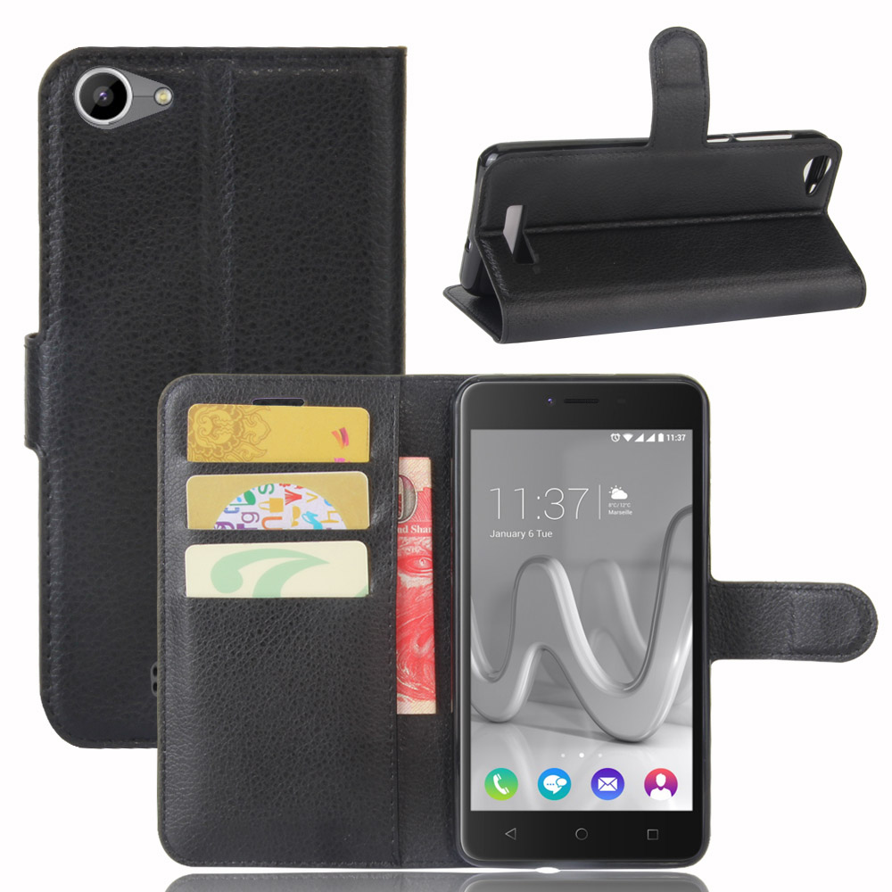 For BQ 5059 Leather Case Premium PU Leather Card Slots Wallet Phone Shell Back Cover for BQ BQ-5059 Strike Power