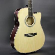 Guitar Acoustic Electric Steel-String Balladry Folk Pop Flattop 41 Inch Guitarra 6 String Sort Hvid Lys Cutaway Electro