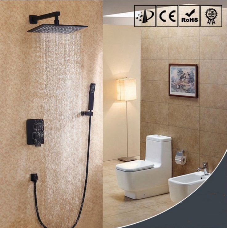 Robinets de douche de pluie de salle de bains en laiton de haute qualité de luxe ensembles de douche de tête avec douchette et mitigeur de douche noir deux fonctions