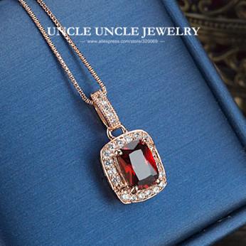 Mujer Roja Cristalina de Lujo Collar Colgante de Oro Rosa Plateado Perfect Cut Rectángulo Rubí Simulado Colgante, Collar de Señora Al Por Mayor
