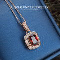 Woman Red Crystal Luxury Pendant Necklace Rose Gold Plated Perfect Cut Rectangle Simulated Ruby Lady Pendant Necklace Wholesale