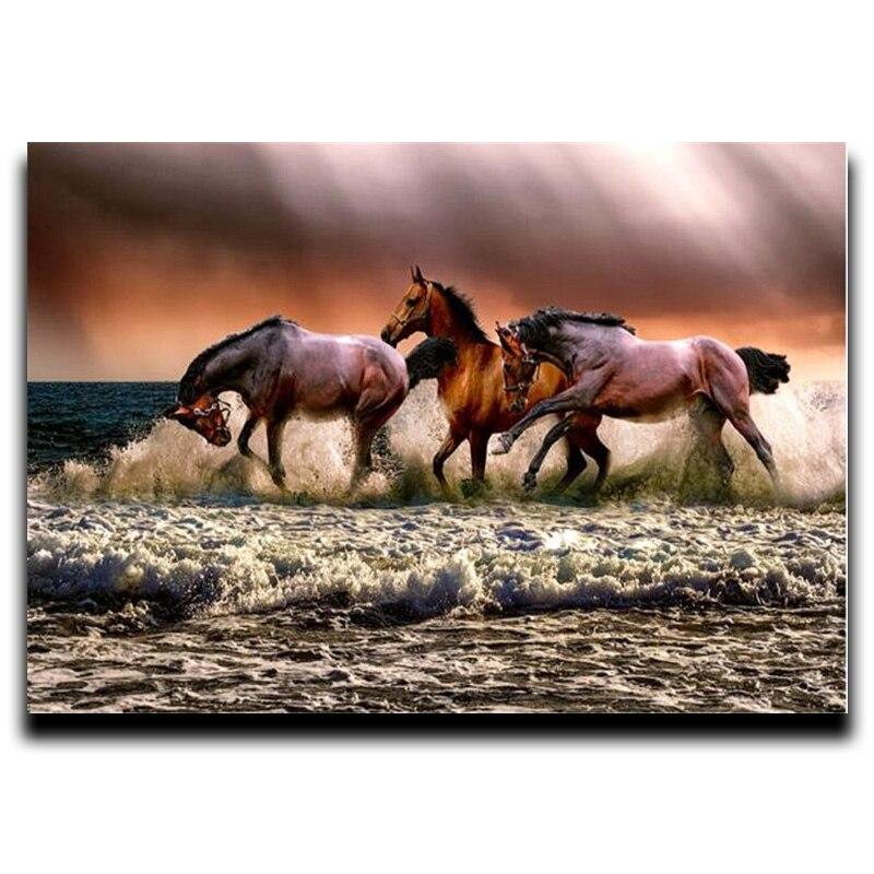 Купить картина из страз вышивка крестиком брызги лошадей квадраты с