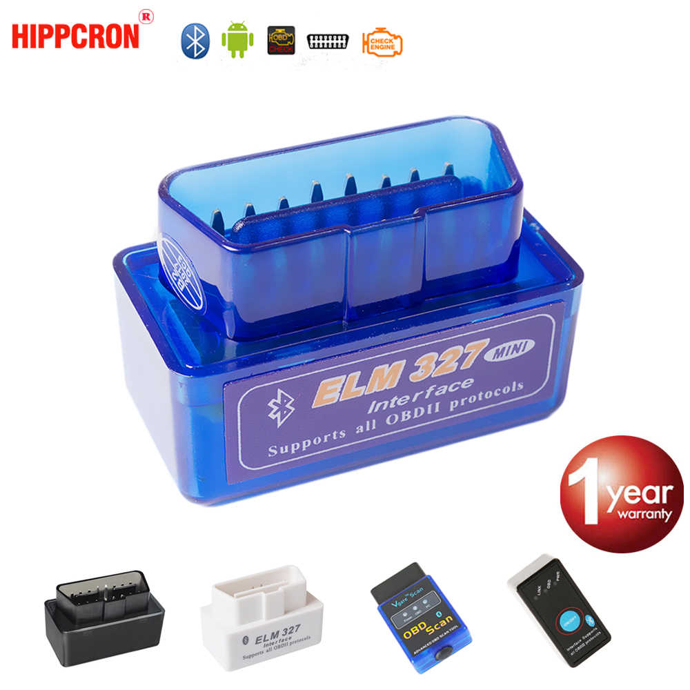 Hippcron V2.1 Super MINI ELM327 บลูทูธ OBD2 OBDII ELM 327 สำหรับ Android Torque Car Code Scanner