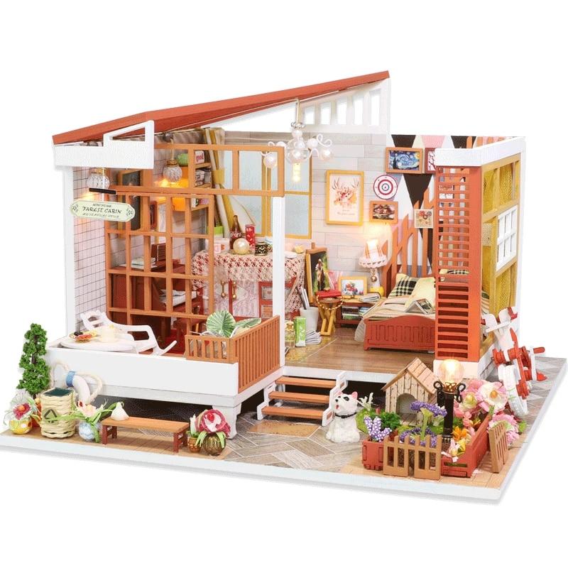 Wooden Cozy Dollhouse DIY 3D Dollhouse Kit