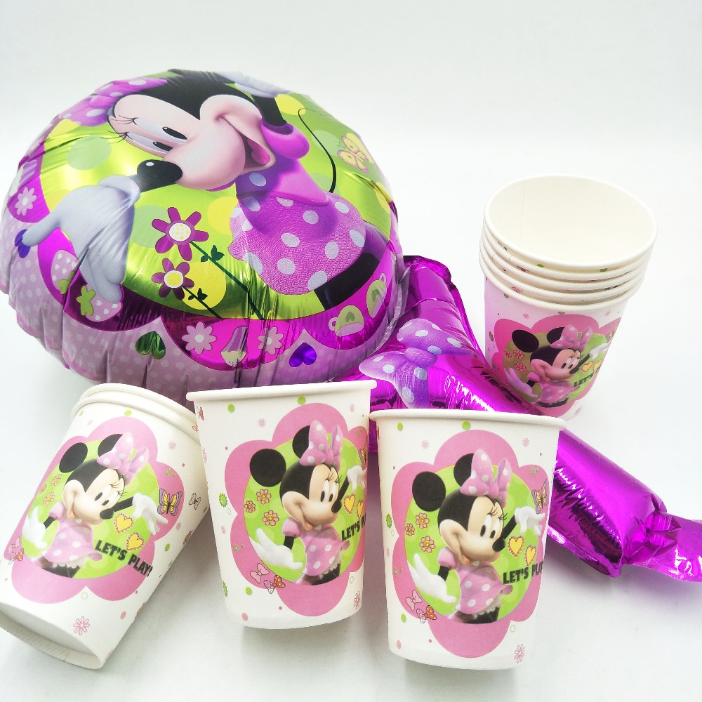 10pcs/lot Minnie Mouse Party Supplies Paper Cup Cartoon Birthday Decoration Baby Shower Theme For Kids Boys