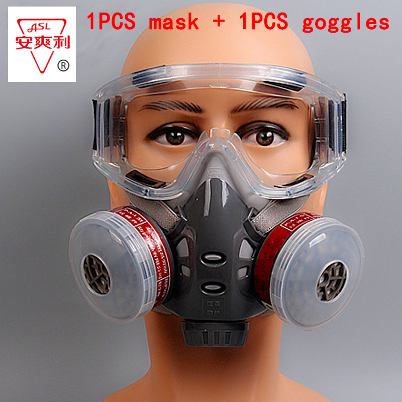 1PCS Gas mask + goggles High quality paint gas respirator  pesticide graffiti filter mask anti-explosion anti shock goggles industrial anti dust paint respirator mask chemical gas filter paint safety equipment gas mask
