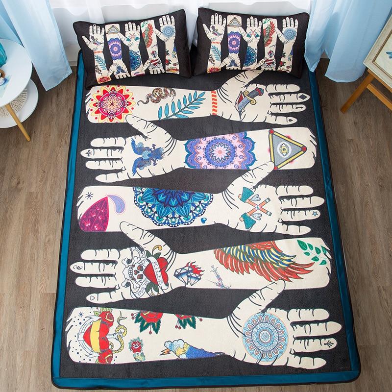 Creative fleur bras lit tapis simple 1.2 m double 1.8 m été climatisé plat feuille ménage literie cool glace tapis ensemble