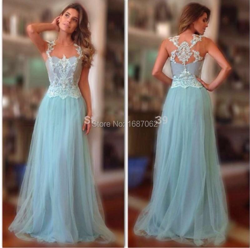 2015 Fashion Sheer Neck Light Blue Evening Gowns A Line Floor Length