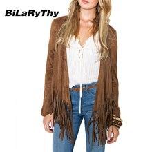 BiLaRyThy Autumn Winter Fashion Women's Long Sleeve Jacket Tassel Hem Open Stitch Slim Outerwear Coats Casual Woman Clothing