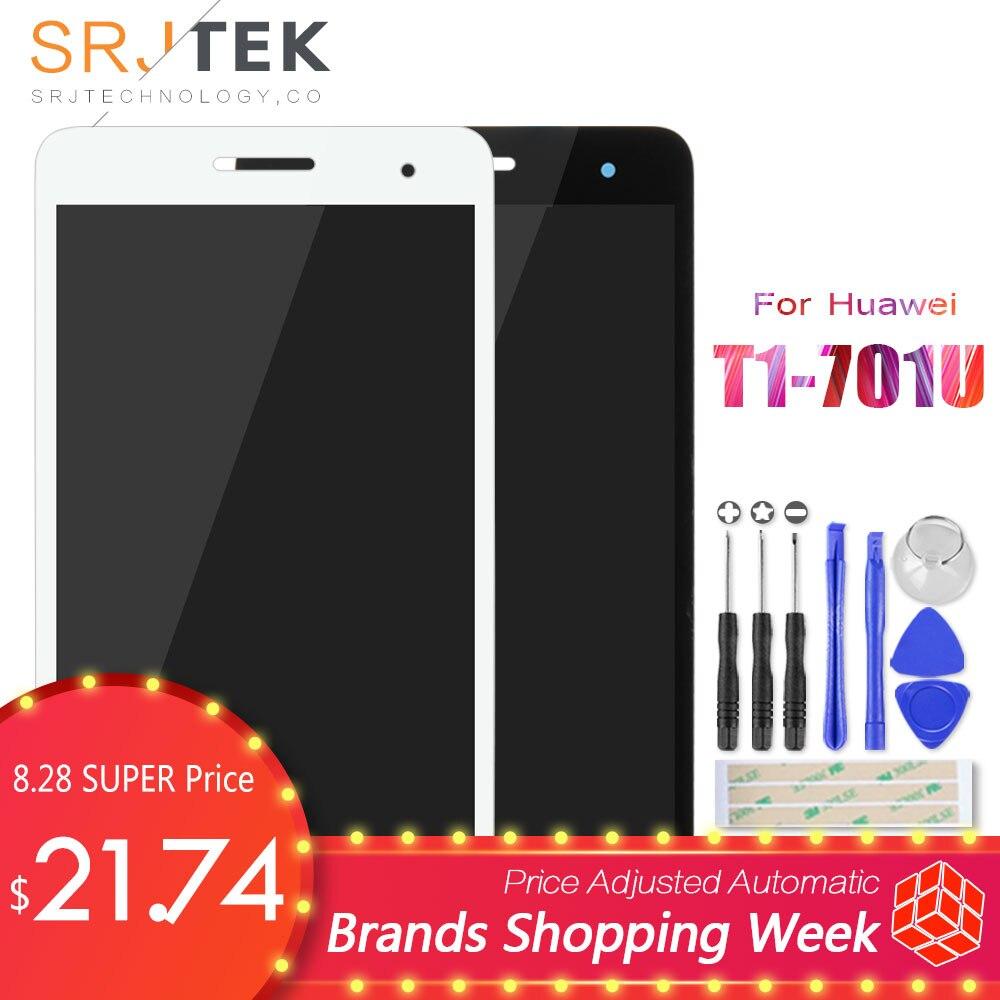 Srjtek Negro Para Huawei Mediapad Honor Juego T1-701 T1 701U T1-701U Pantalla LCD Con Panel de Pantalla Táctil Digitalizador 100% Probado