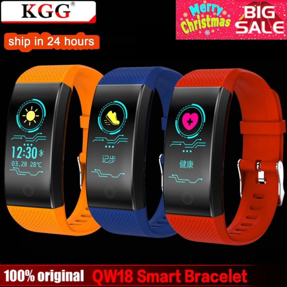 KGG QW18 pulsera inteligente banda de Fitness Monitor de ritmo cardíaco pulsera rastreador de actividad IP68 inteligente impermeable reloj de pulsera