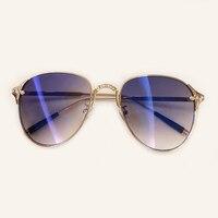 Vintage Oval Sunglasses For Women Brand Designer 2019 Retro Sunglasses Female Metal Frame Sun Glasses For Women With Box
