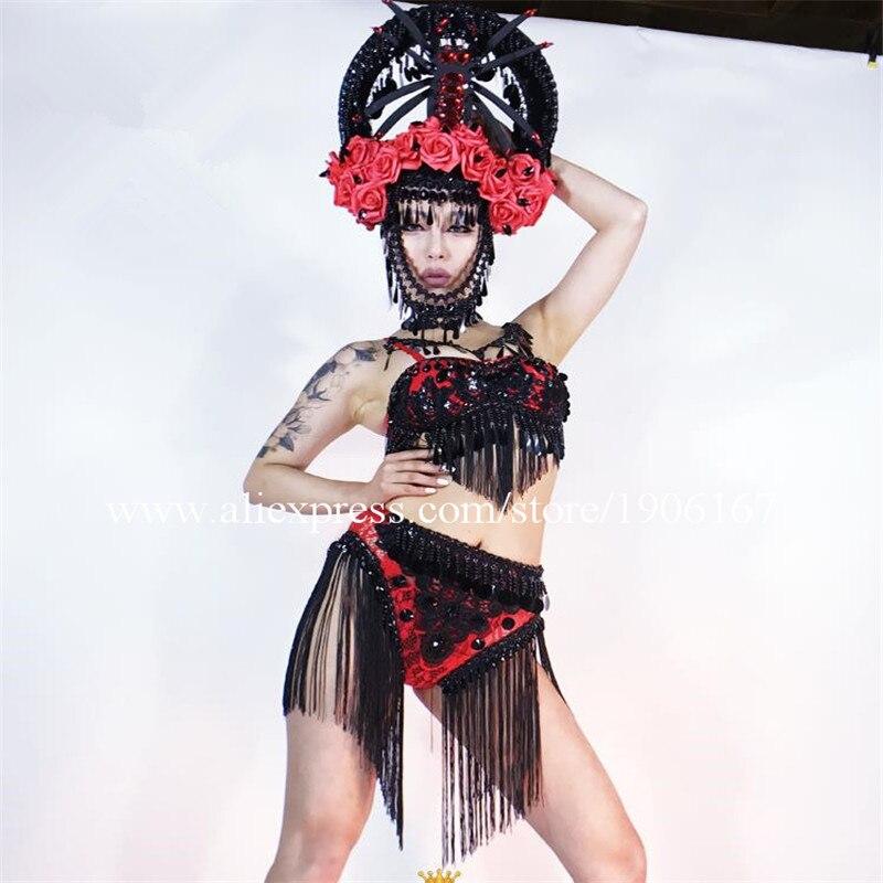 Mode Cool Sexy danseuse chanteuse fille dame femmes Costumes soutien-gorge et Shorts scène danse Performance ensembles