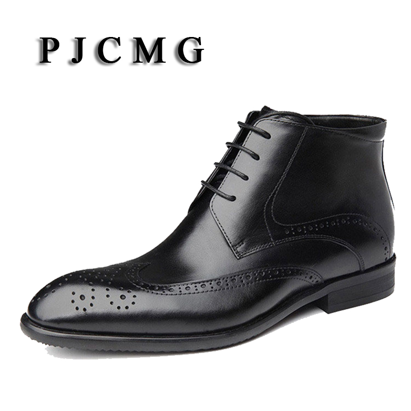 PJCMG New Products Breathable High Quality Genuine Leather Lace-Up Pointed Toe Oxford Ankle Boots Dress Wedding For Men wholesale new men genuine leather lace up pointed toe checked men s oxford dress shoes high quality celebrity ankle boots
