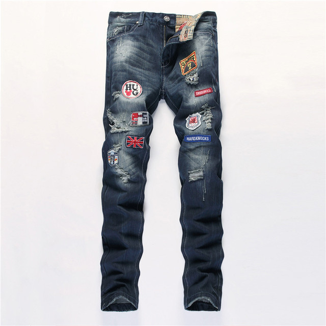 Men's Brand Designer Repaired Distressed Biker Jeans Patches Decorated Straight  Slim Badges Ripped Denim Jeans Patchwork