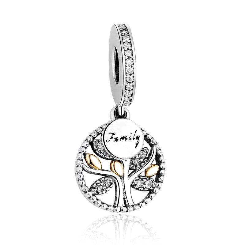 DIY Серебряный Шарм подходят Pandora браслет Бусины стерлингового серебра 925 Любовь мотаться Шарм crystal сердце, цветок, башня, дерево из бисера - Цвет: PY1183 gold