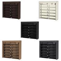 7 Tiers Portable Shoe Rack Closet Fabric Cover Shoe Storage Organizer Cabinet Mocha Home Storage Organizer