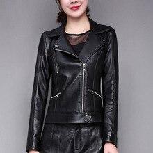 Frauen Aus Echtem Leder Jacke Schwarz 2021 Neue Winter Kurze Dünne Weibliche schaffell Jacke Herbst Moto Biker Mantel Heißer Verkauf