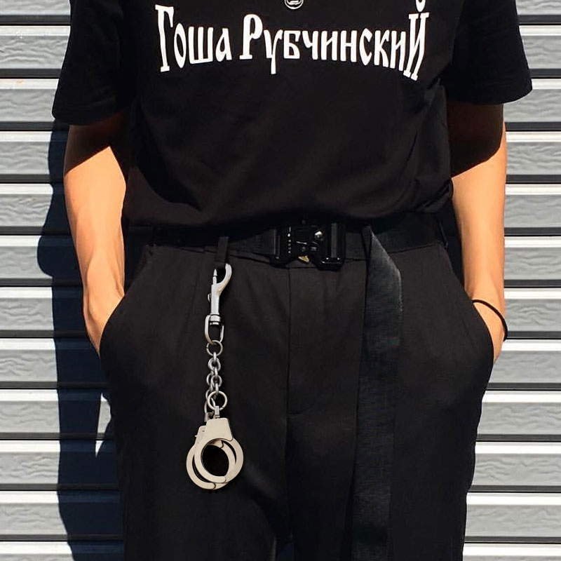 Street Big Ring Key Chain Rock Punk Trousers Hipster Key Chains Pant Belt Jean Keychain HipHop Portachiavi Kpop Accessories LZ05