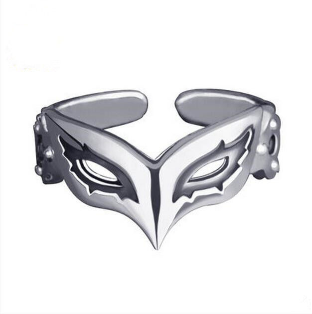 Anime Persona 5 P5 Joker Persona Mask Ring 925 Sterling Silver Adjustable 58 Mm Gift